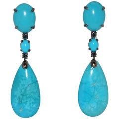 Turquoises and Blue Sapphires Black Gold Chandelier Earrings