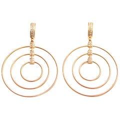Clarissa Bronfman 18 Karat Pink Gold and Diamond Hoop Earrings