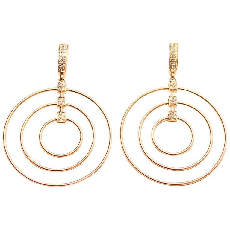 Clarissa Bronfman 18 Karat Pink Gold and Diamond Hoop Earrings For Sale