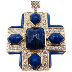 Lapis Lazuli and Diamond Yellow Gold Cross