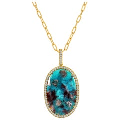 16.65 Carat Oval Paraiba Tourmaline Slice Pendant with Diamond Halo in 18 Karat