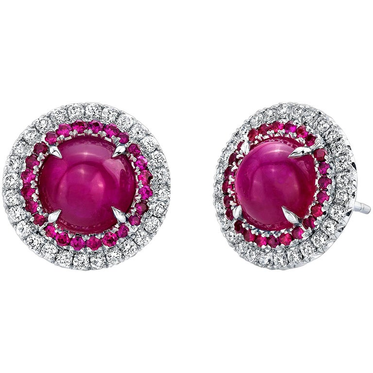 4.24 Carat TW Ruby Cabochon Double Halo Studs Earrings