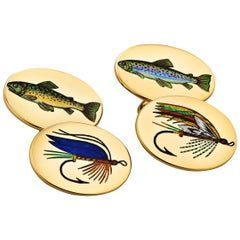 Vintage Longmire London Fish and Lure Gold Enamel Cufflinks