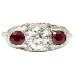 Art Deco 14 Karat White Golf Old European Cut Diamond Ruby Ring, circa 1920s