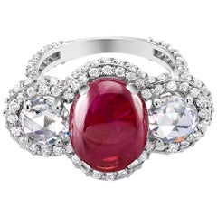 Burma Cabochon Ruby 5.45 Carat Diamond Cocktail Ring GIA Certified