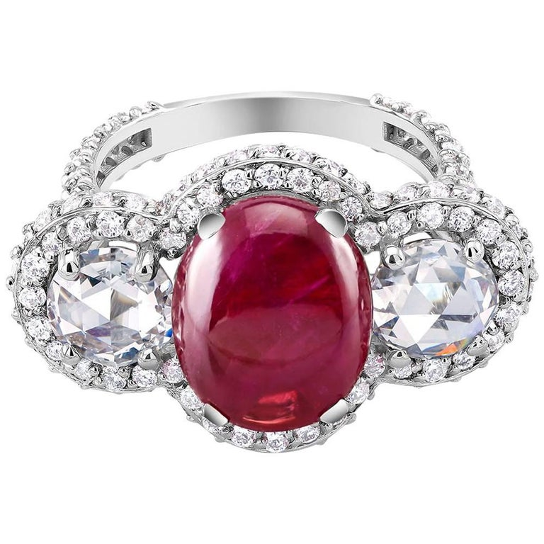 Cabochon Burma Ruby Diamond White Gold Cocktail Ring Weighing 8.85 Carat For Sale