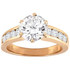 2.15 Carat Round Diamond Rose Gold Engagement Ring