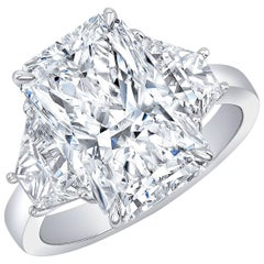 GIA Certified 5.01 Carat H VS2 Radiant 3 Stone Diamond Ring w Trapezoids in Plat