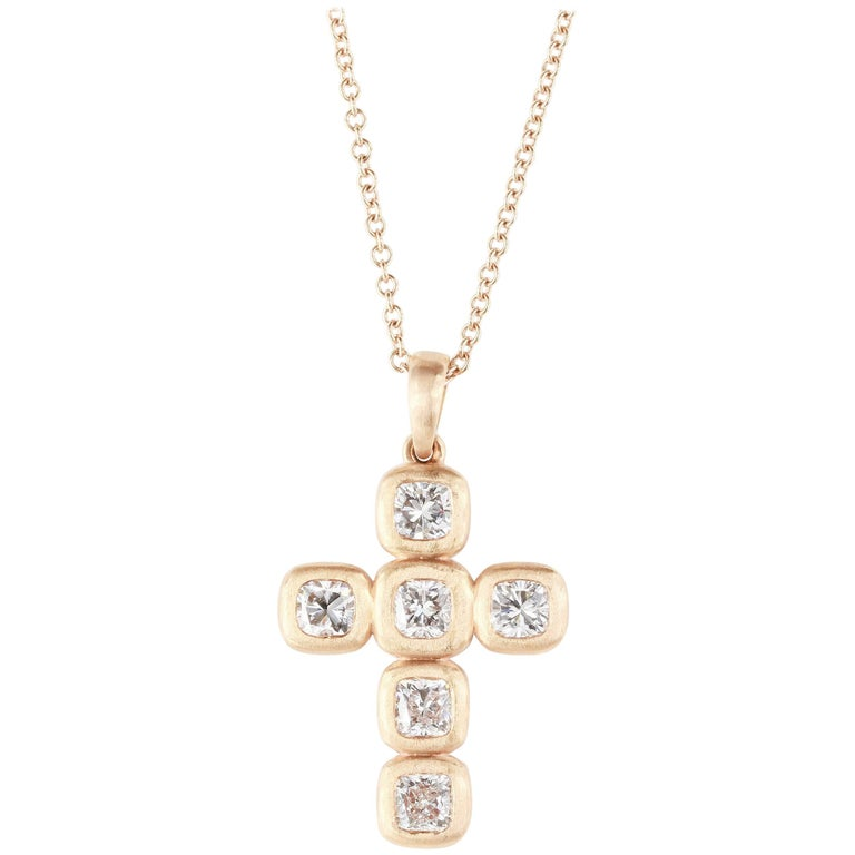 Diamond Cross Pendant 1.94 Carat 18 Karat Rose Gold Satin Finish