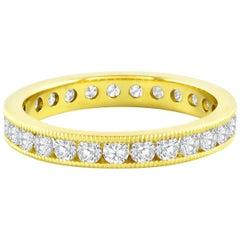1.18 Carat Channel Set Round Diamond Gold Eternity Wedding Band