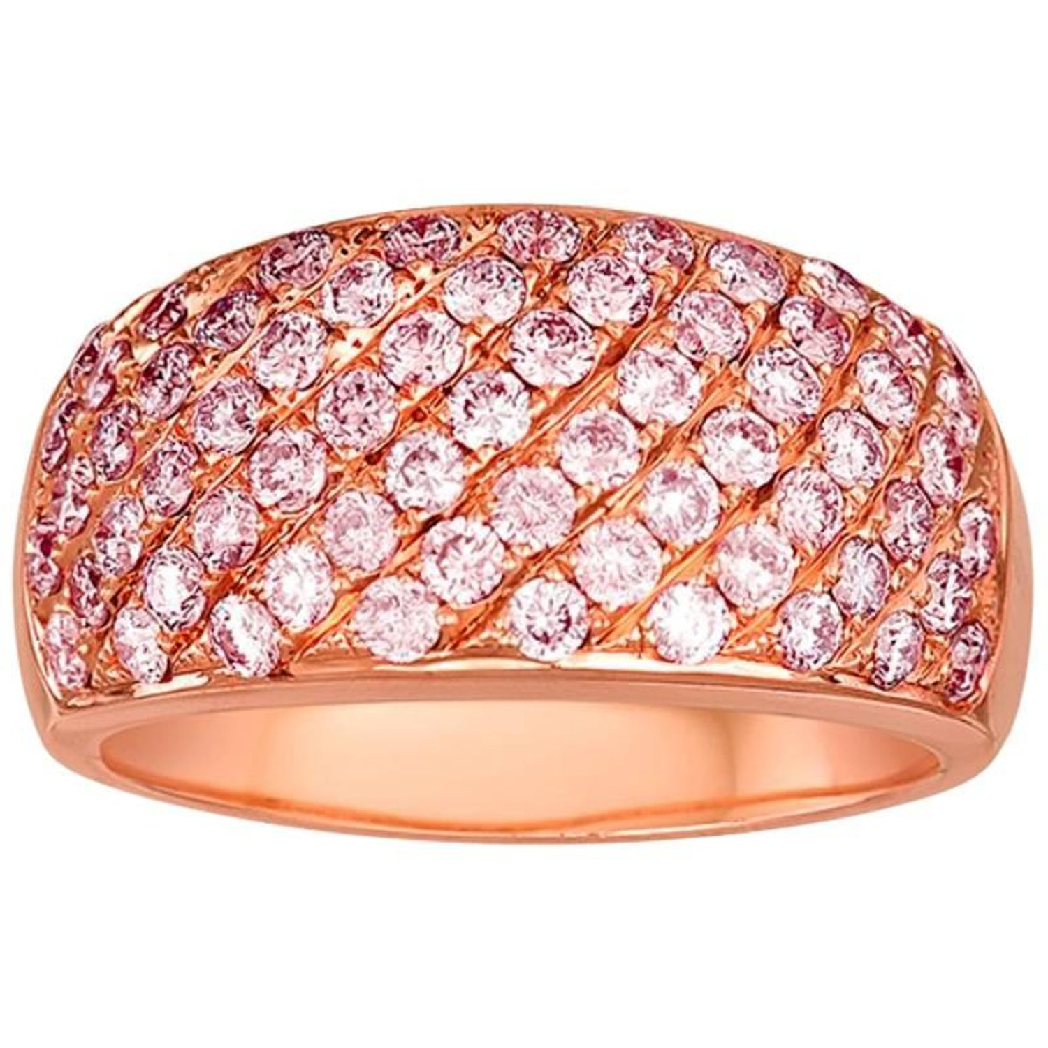 Pave Pink Diamond Gold Band Ring at 1stdibs