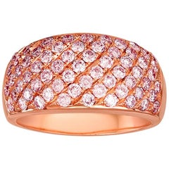 Natural Pink Diamond Gold Band Ring