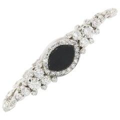14 Karat White Gold Diamond and Onyx Watch Conversion Bracelet