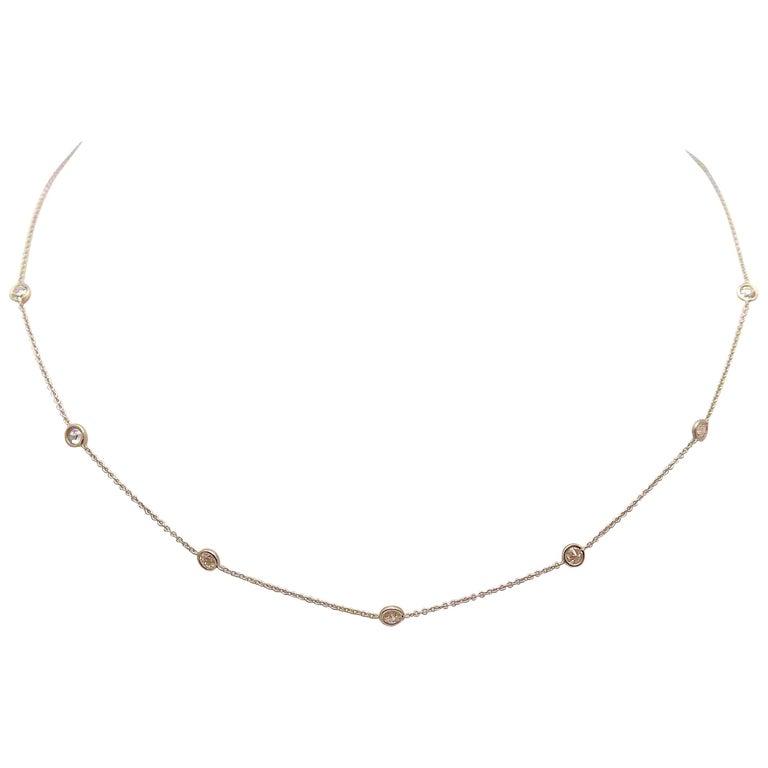 14 Karat White Gold Diamond Necklace...DBY...Diamonds by the Yard For Sale