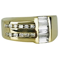 Gents, 14 Karat Yellow Contemporary Diamond Ring, Baguettes and Round .86 Carat
