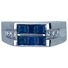 Blue Sapphire Princess and Diamond Stone Ring, 14 Karat White Gold, Contemporary