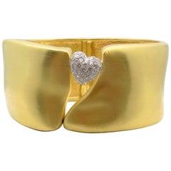 Marlene Stowe Hinged Pave' Diamond Heart Bracelet, 18 Karat Yellow Gold/Platinum
