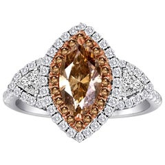 Natural Champagne Diamond Double Halo Two-Color Gold Bridal Fashion Ring