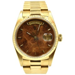 Rolex yellow Gold Day-Date President Walnut Dial Quickset Wristwatch Ref 18038