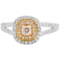 Natural Pink Diamond Double Halo Two-Color Gold Bridal Ring