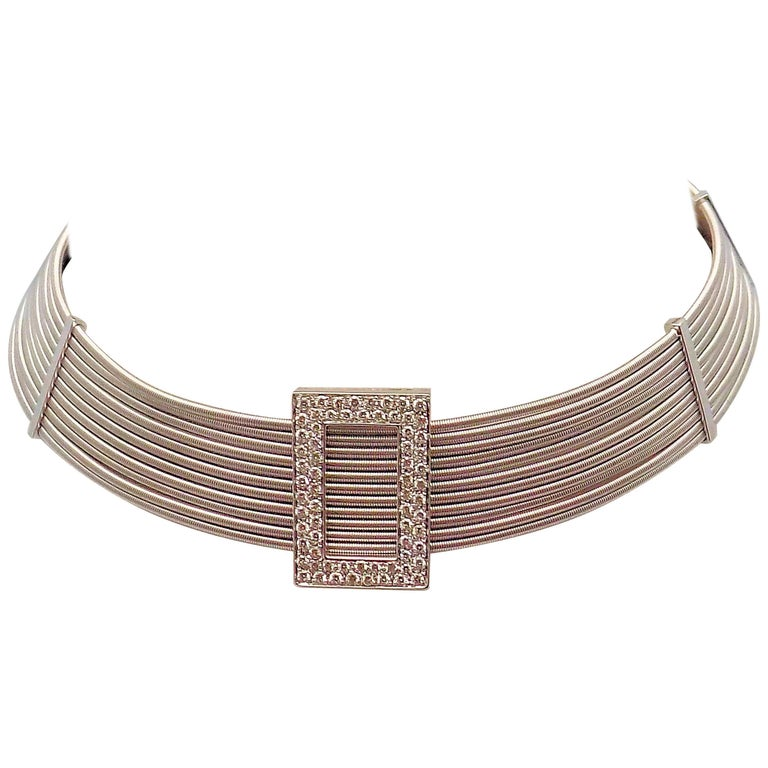 Multi Strand Diamond Choker by Verdi in 18 Karat White Gold For Sale