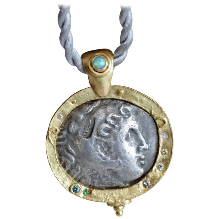 Alexander Macedonian Antique Coin in 22k-21k Gold Pendant with Diamonds, Opal For Sale