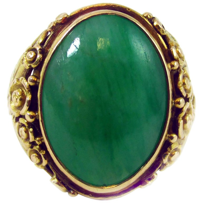 Arts & Crafts Jadeite Gold Ring