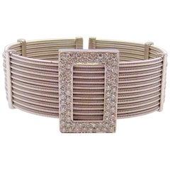 Multi Strand Diamond Cuff Bracelet by Verdi in 18 Karat White Gold