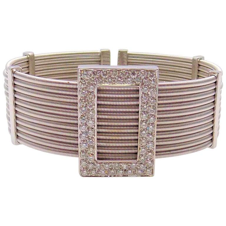 Multi Strand Diamond Cuff Bracelet by Verdi in 18 Karat White Gold For Sale