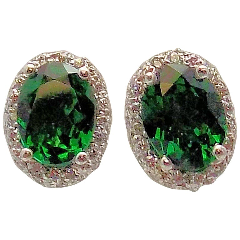 Tsavorite and Diamond Stud Earrings in 14 Karat White Gold
