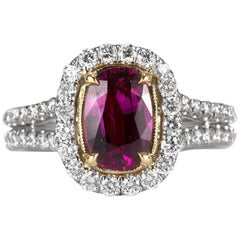 Mark Broumand 2.91 Carat Cushion Cut Ruby and Diamond Ring