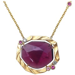 Golden Sweetbriar Pendant Featuring a Pink Tourmaline and 18 Karat Yellow Gold