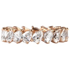 Mark Broumand 3.65 Carat Pear Shaped Diamond Eternity Band in 18 Karat Rose Gold