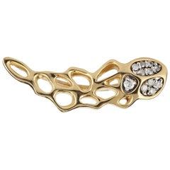 FLOWEN Sterling Silver Eyra Ear Crawler Earring in 18k Gold and Diamonds