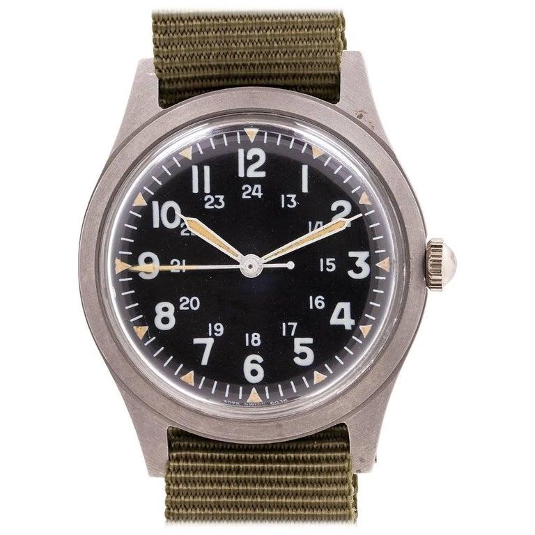 Benrus base metal US Military Issue Post Vietnam Era manual wristwatch, c1974