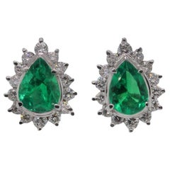 Emerald Diamond Platinum Studs