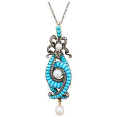 Antique Victorian Turquoise, Diamond, Pearl Necklace