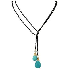 Decadent Jewels Turquoise Onyx Pearl Gold Lariet Necklace