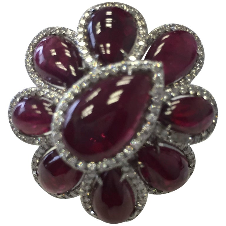 Estate Ruby Pear Cabochon and Diamond Cocktail Ring