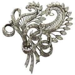 Estate Diamond Multi-Shape Platinum Brooch