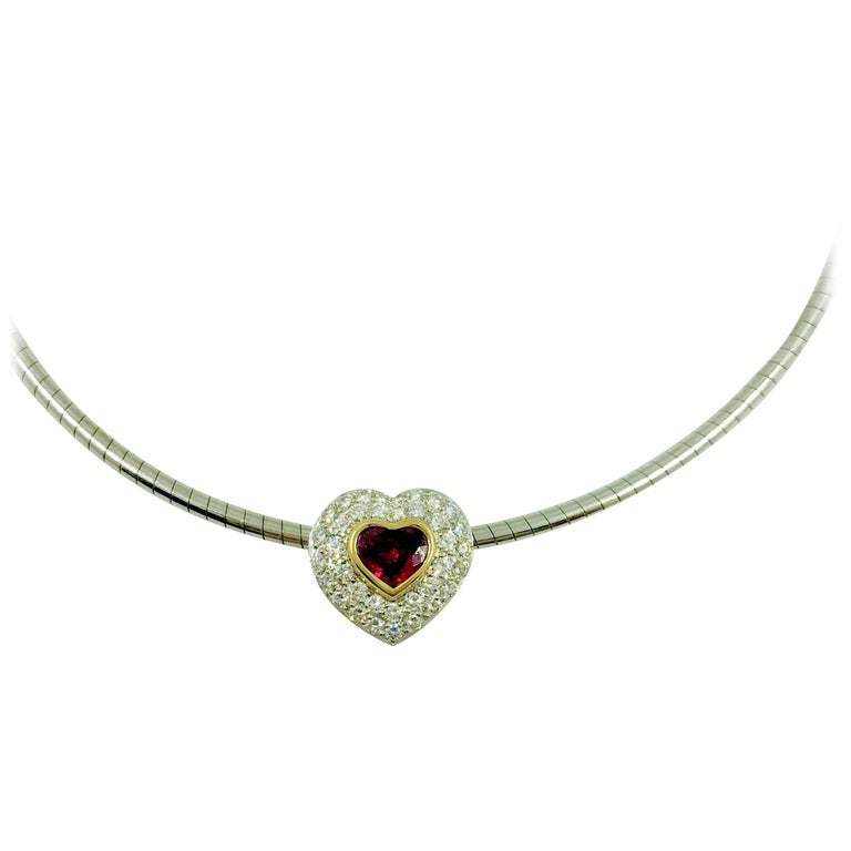 G.Minner Burma Ruby Diamonds Gold Heart Pendant For Sale