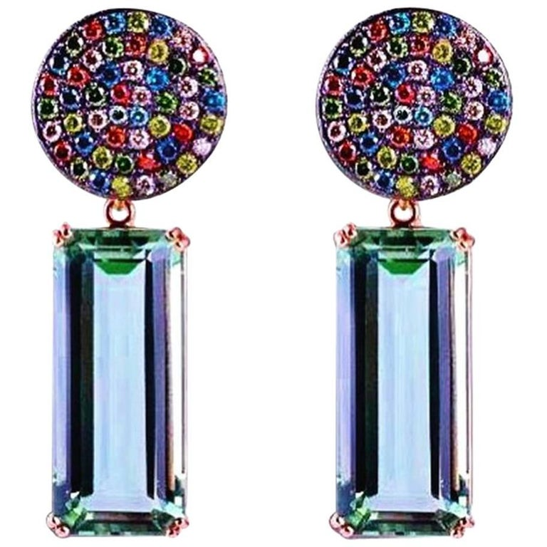 Colored Diamonds Hydro Quartz Tourmaline Dangle Earrings