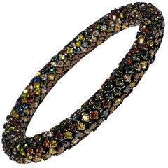 Multicolored Diamond White Gold Flexible Bracelet