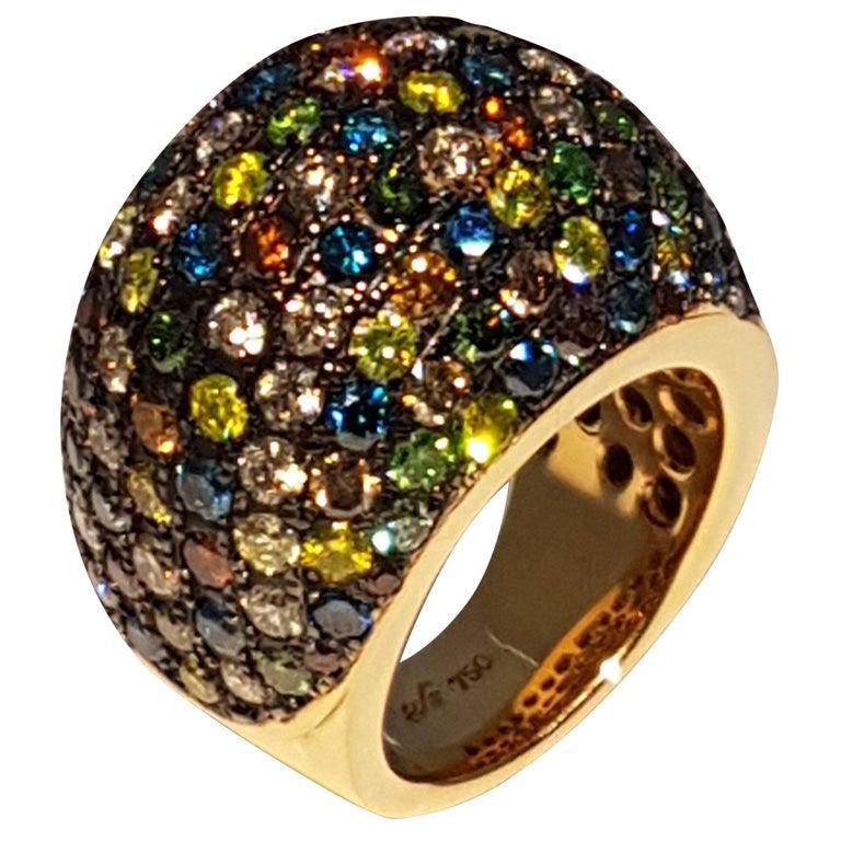 Multicolored Diamond Rose Gold Ring