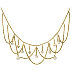1880s 2.50 Carat Diamond and 18 Karat Yellow Gold Necklace