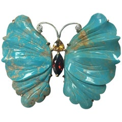 Coach House Beautiful Natural Turquoise Gold Butterfly Brooch Pin Pendant