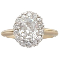 1900s Antique 2.17 Carat Diamond Yellow Gold Cluster Ring