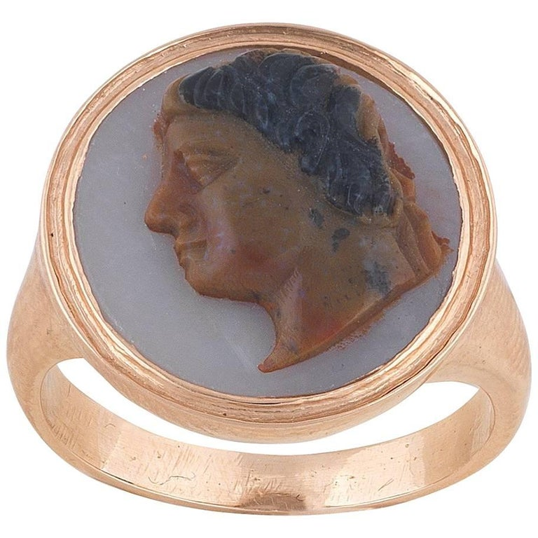 Antique Cameo Ring of a Native American Indian