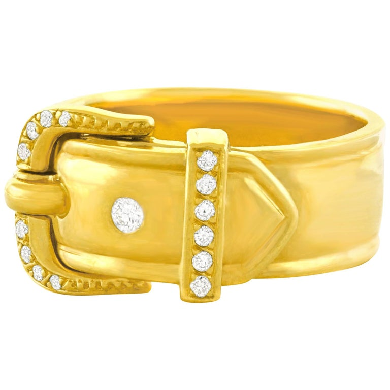 Hermes Diamond Set Gold Buckle Ring