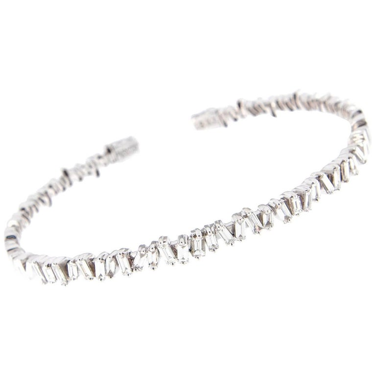 Suzanne Kalan Baguette Diamond Fireworks Gold Bracelet For Sale